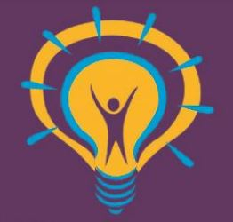 Purple background with yellow lightbulb with purple figure with arms up in the middle